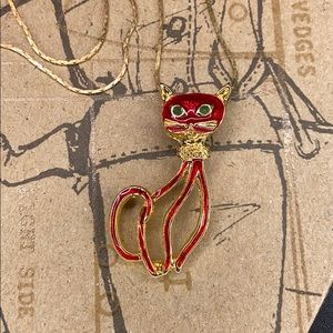 Gold tone red Cat pendant with gold tone chain